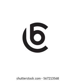 initial letter logo cb, bc, b inside c rounded lowercase black monogram