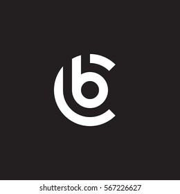 initial letter logo cb, bc, b inside c rounded lowercase white black background