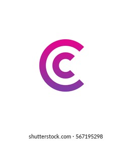initial letter logo cc, c inside c rounded lowercase purple pink