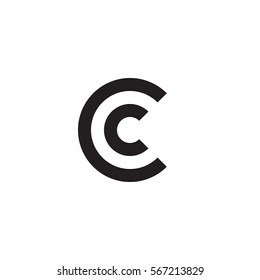 initial letter logo cc, c inside c rounded lowercase black monogram