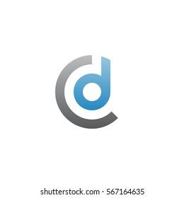 initial letter logo cd, dc, d inside c rounded lowercase blue gray