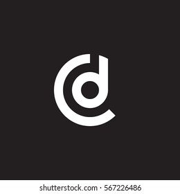 initial letter logo cd, dc, d inside c rounded lowercase white black background