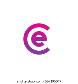 initial letter logo ce, ec, e inside c rounded lowercase purple pink