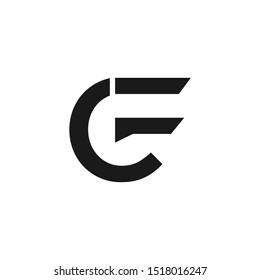 initial letter logo cf, fc, f inside c rounded lowercase black monogram