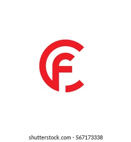 initial letter logo cf, fc, f inside c rounded lowercase red flat