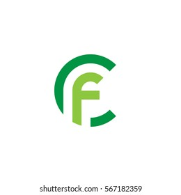 initial letter logo cf, fc, f inside c rounded lowercase green flat