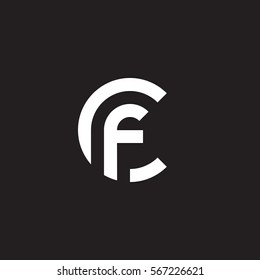 initial letter logo cf, fc, f inside c rounded lowercase white black background