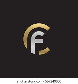 initial letter logo cf, fc, f inside c rounded lowercase logo gold silver