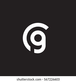 initial letter logo cg, gc, g inside c rounded lowercase white black background