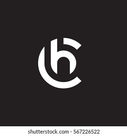 initial letter logo ch, hc, h inside c rounded lowercase white black background