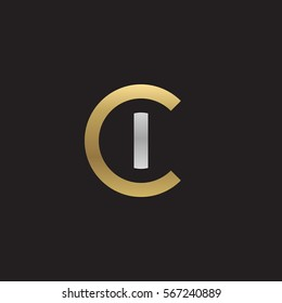 initial letter logo ci, ic, i inside c rounded lowercase logo gold silver