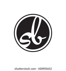 initial letter logo circle with ring sb