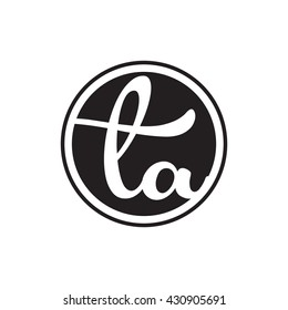 initial letter logo circle with ring ta