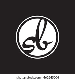 initial letter logo circle with ring white sb