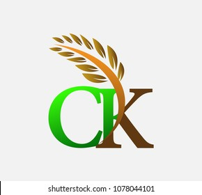 initial letter logo CK, Agriculture wheat Logo Template vector icon design colored green and brown.