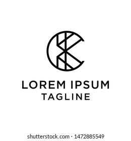 initial letter logo CK, KC logo template