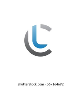 initial letter logo cl, lc, l inside c rounded lowercase blue gray