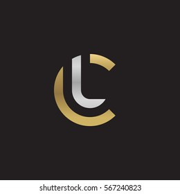 initial letter logo cl, lc, l inside c rounded lowercase logo gold silver