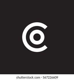 initial letter logo co, oc, o inside c rounded lowercase white black background
