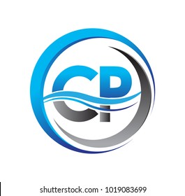 initial letter logo CP company name blue and grey color on circle and swoosh design. vector logotype for business and company identity.