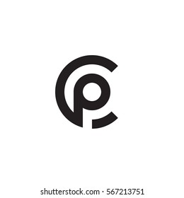initial letter logo cp, pc, p inside c rounded lowercase black monogram