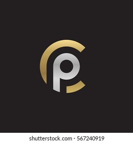 initial letter logo cp, pc, p inside c rounded lowercase logo gold silver