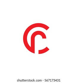 initial letter logo cr, rc, r inside c rounded lowercase red flat