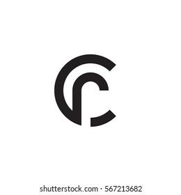 initial letter logo cr, rc, r inside c rounded lowercase black monogram