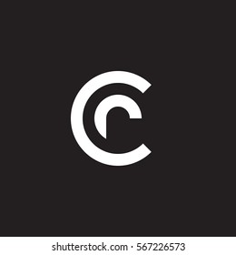 initial letter logo cr, rc, r inside c rounded lowercase white black background