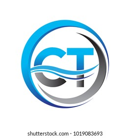 initial letter logo CT company name blue and grey color on circle and swoosh design. vector logotype for business and company identity.