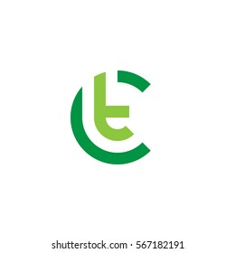 initial letter logo ct, tc, t inside c rounded lowercase green flat