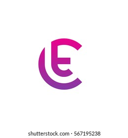initial letter logo ct, tc, t inside c rounded lowercase purple pink
