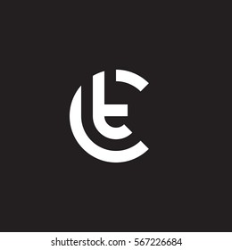 initial letter logo ct, tc, t inside c rounded lowercase white black background