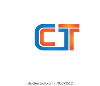 initial letter logo ct, tc, t inside c rounded lowercase blue orange