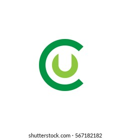 initial letter logo cu, uc, u inside c rounded lowercase green flat