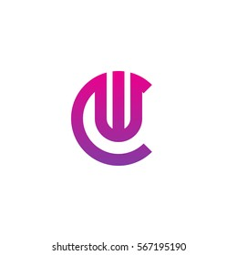 initial letter logo cw, wc, w inside c rounded lowercase purple pink