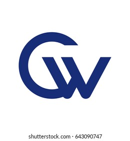 initial letter logo cw, wc, w and c uppercase blue vector template white background