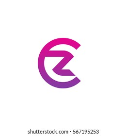 initial letter logo cz, zc, z inside c rounded lowercase purple pink
