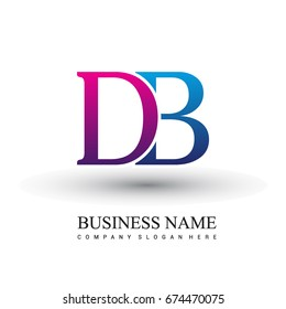 initial letter logo DB colored red and blue, Vector logo design template elements for your business or company identity