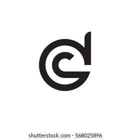 initial letter logo dc, cd, c inside d rounded lowercase black monogram
