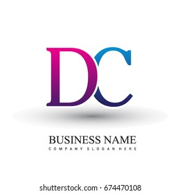 initial letter logo DC colored red and blue, Vector logo design template elements for your business or company identity