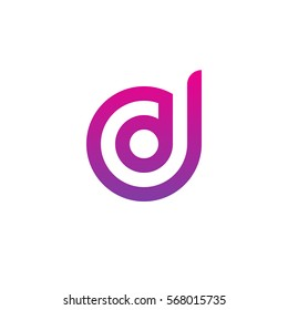 initial letter logo dd, d inside d rounded lowercase purple pink