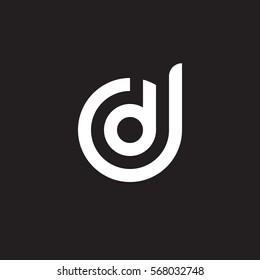 initial letter logo dd, d inside d rounded lowercase white black background