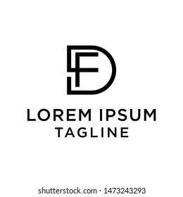 initial letter logo DF, FD logo template
