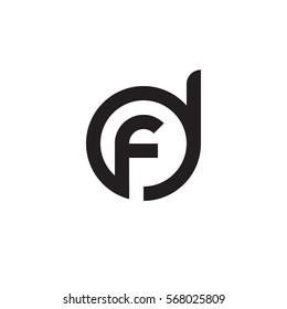 initial letter logo df, fd, f inside d rounded lowercase black monogram
