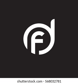 initial letter logo df, fd, f inside d rounded lowercase white black background