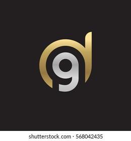 initial letter logo dg, gd, g inside d rounded lowercase logo gold silver