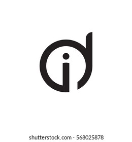 initial letter logo di, id, i inside d rounded lowercase black monogram