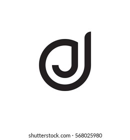initial letter logo dj, jd, j inside d rounded lowercase black monogram