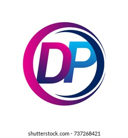 initial letter logo DP company name blue and magenta color on circle and swoosh design. vector logotype for business and company identity.